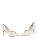 Womens Ivory Satin Selah Pointed Toe Pump 5