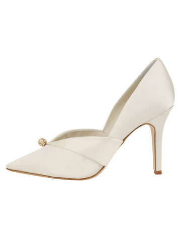 Womens Ivory Satin Selah Pointed Toe Pump 7
