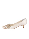 Womens Ivory Satin Brinsley Pointed Toe Kitten Heel 7