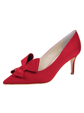 Womens Lipstick Satin Pointed Toe Pump Alternate View