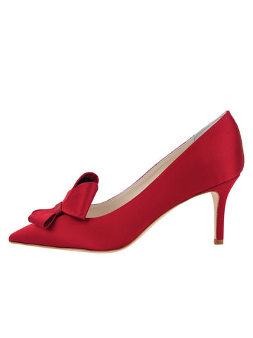 Womens Lipstick Satin Pointed Toe Pump 7