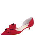 Womens Lipstick Satin Cliff d'Orsay Kitten Heel