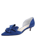 Womens Navy Satin Cliff d'Orsay Kitten Heel