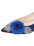 Womens Navy Satin Bo Pointed Toe Kitten Heel 6