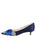 Womens Navy Satin Bo Pointed Toe Kitten Heel 7