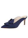 Womens Navy Satin Etu Pointed Toe Mule