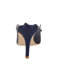Womens Navy Satin Etu Pointed Toe Mule 2