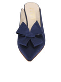 Womens Navy Satin Etu Pointed Toe Mule 4