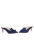 Womens Navy Satin Etu Pointed Toe Mule 5