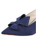 Womens Navy Satin Etu Pointed Toe Mule 6