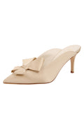 Womens Nude Satin Etu Pointed Toe Mule