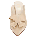 Womens Nude Satin Etu Pointed Toe Mule 4