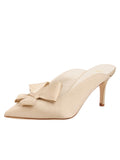 Womens Nude Satin Etu Pointed Toe Mule 5