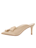 Womens Nude Satin Etu Pointed Toe Mule 7