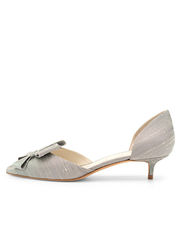 Womens Pewter Vintage Silk Cliff d'Orsay Kitten Heel 7