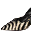 Womens Platinum Stripe Metallic Erika Pointed Toe Pump 6
