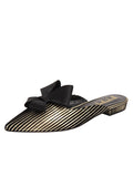 Womens Platinum Stripe Satin Prince Slip-On Mule