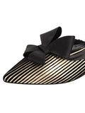 Womens Platinum Stripe Satin Prince Slip-On Mule 6