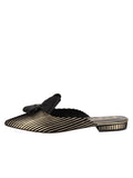 Womens Platinum Stripe Satin Prince Slip-On Mule 7