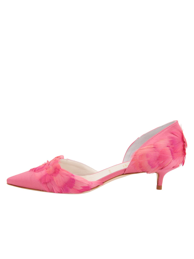 Womens Rose Pink Satin Bunty D'Orsay Kitten Heel 7