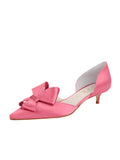 Womens Rose Pink Satin Cliff d'Orsay Kitten Heel