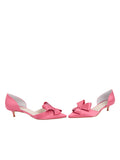 Womens Rose Pink Satin Cliff d'Orsay Kitten Heel 5