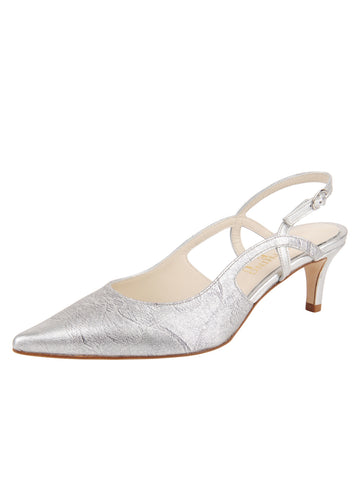 Womens Silver Metallic Floral Nadette Pointed Toe Slingback Alternate View