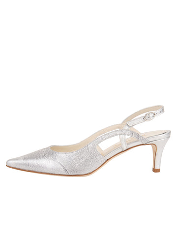 Womens Silver Metallic Floral Nadette Pointed Toe Slingback 7