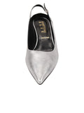 Womens Silver Metallic Floral Brook Slingback Kitten Heel 4