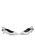 Womens Silver Metallic Floral Brook Slingback Kitten Heel 5