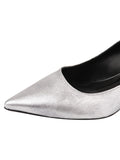 Womens Silver Metallic Floral Brook Slingback Kitten Heel 6