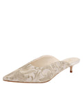 Womens Silver Satin Scroll Kitten Heel Mule
