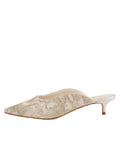 Womens Silver Satin Scroll Kitten Heel Mule 7