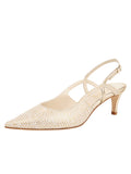 Womens Speckled White Platinum Nadette Pointed Toe Slingback