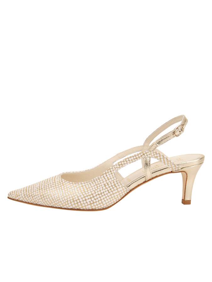 Womens Speckled White Platinum Nadette Pointed Toe Slingback 7