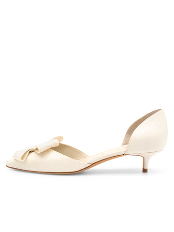 Womens White Swan Vintage Silk Cliff d'Orsay Kitten Heel 7