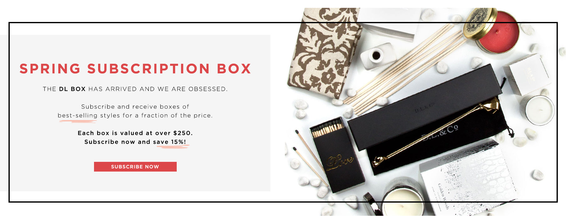 Subscription Box: The DL Box has arrived - Only $99 for over $250 worth of luxe home decor items. Subscribe Now.
