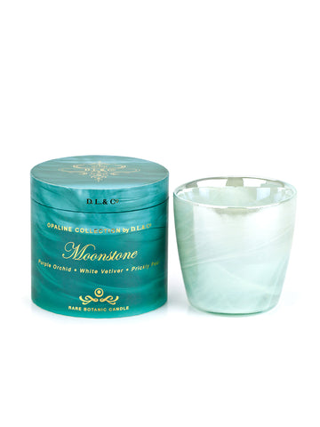 Moonstone 17 oz Opaline White/Aqua Candle