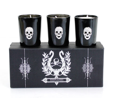 Set Of 3 Crystal Skull Votives Candles