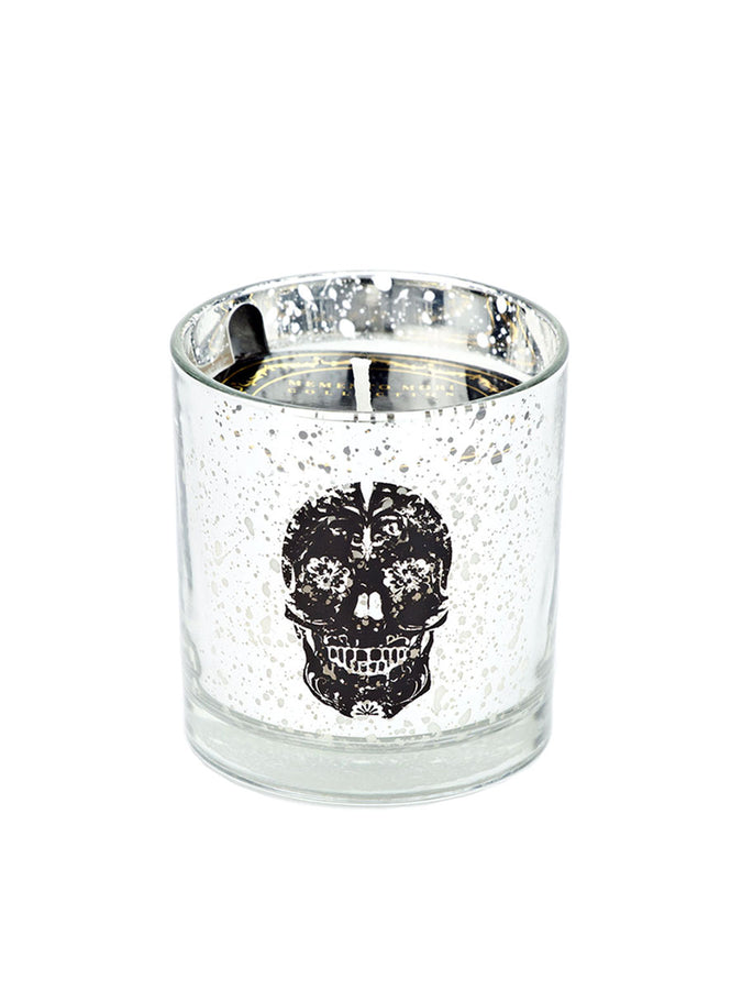 Skull Halloween Tumbler Candle - Silver