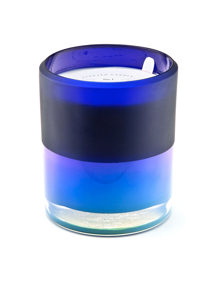 25oz Ion Plated Blue Candle - Eucalyptus Wreath & Conifer