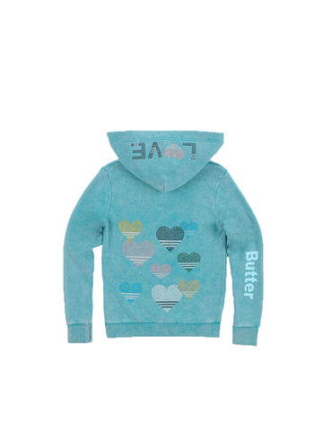 STRIPED HEARTS FLEECE LACE-UP PULLOVER HOODIE - Nebulas Blue