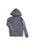 Boys Black Iris Boys Mineral Wash Fleece Zip Hoodie With Print Design 2