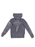 Boys Black Iris Boys Mineral Wash Fleece Zip Hoodie With Print Design