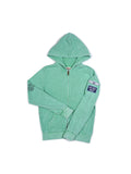 Boys Green Spruce Boys Mineral Wash Fleece Zip Hoodie With Print Design 2