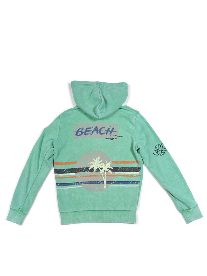 Boys Green Spruce Boys Mineral Wash Fleece Zip Hoodie With Print Design