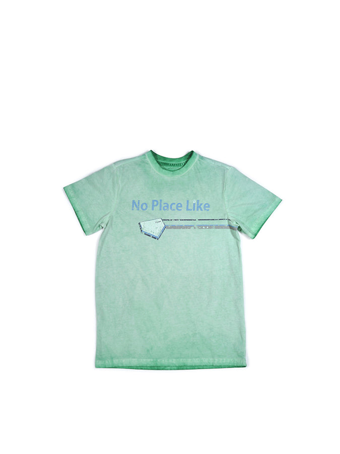 Boys Green Spruce Boys Mineral Wash Jersey Tee With Print Design