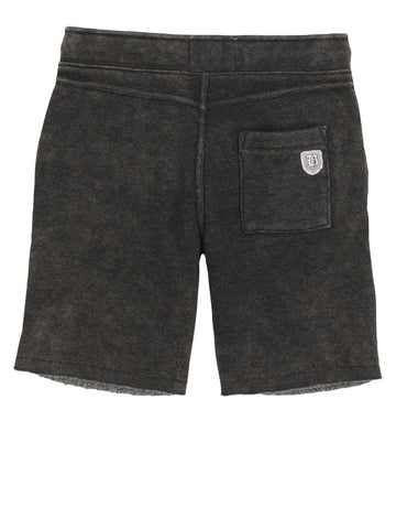 Boys Jet Black Mineral Wash Fleece Short 2 Alternate View