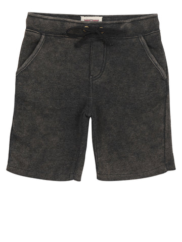 Boys Jet Black Mineral Wash Fleece Short