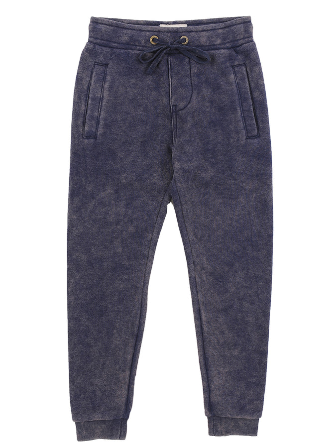 Boys Maritime Blue Boys Mineral Wash Fleece Pants